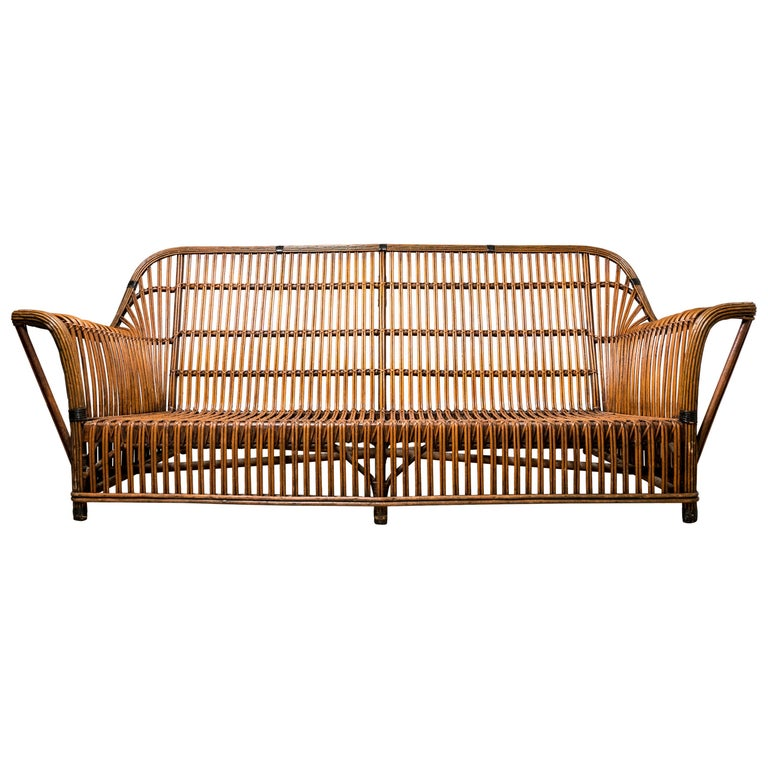 Wicker Antique Mid Century Sofa For Sale At 1stdibs