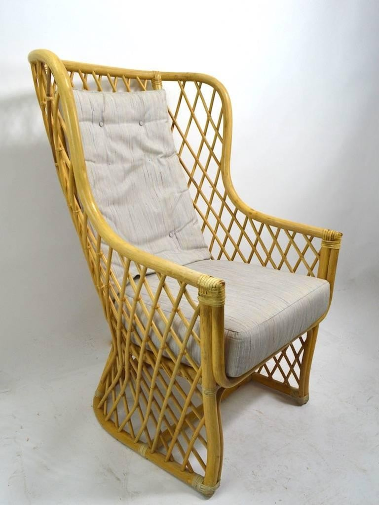 Wicker Bamboo Weave Lounge Chair For Sale 4