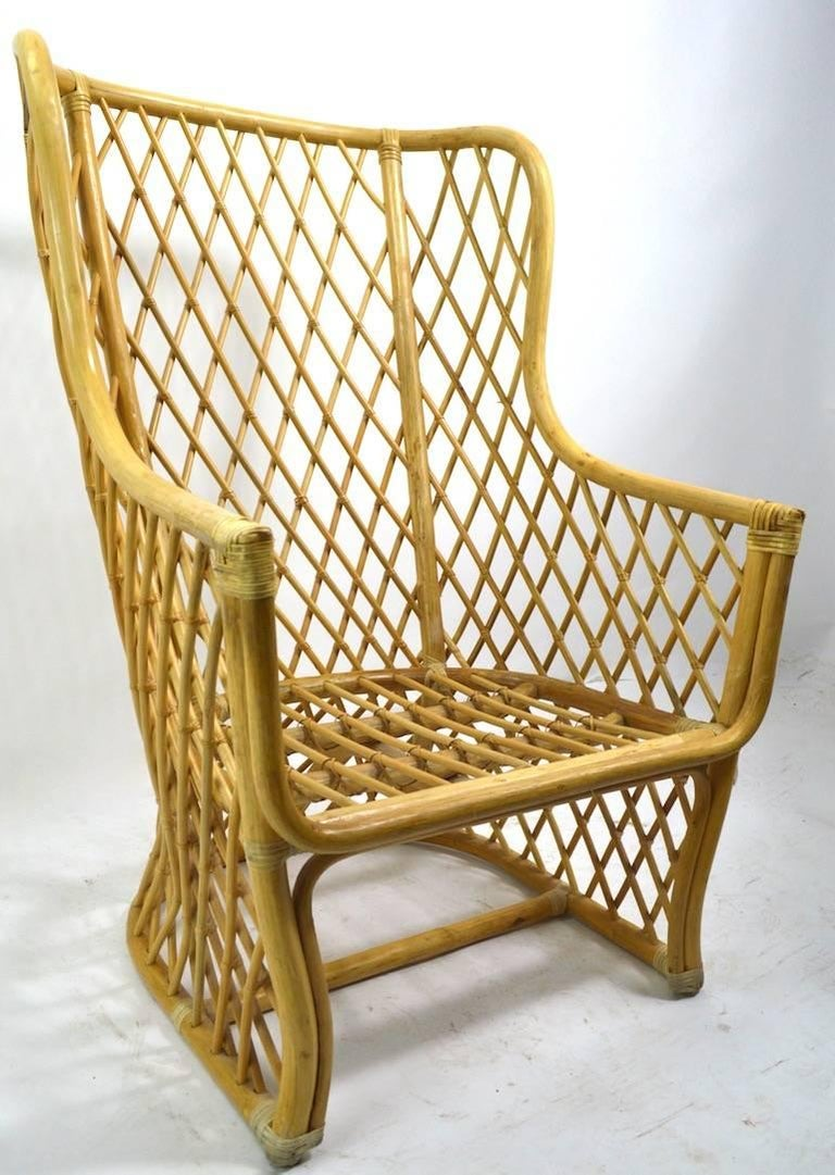 Mid-Century Modern Wicker Bamboo Weave Lounge Chair For Sale