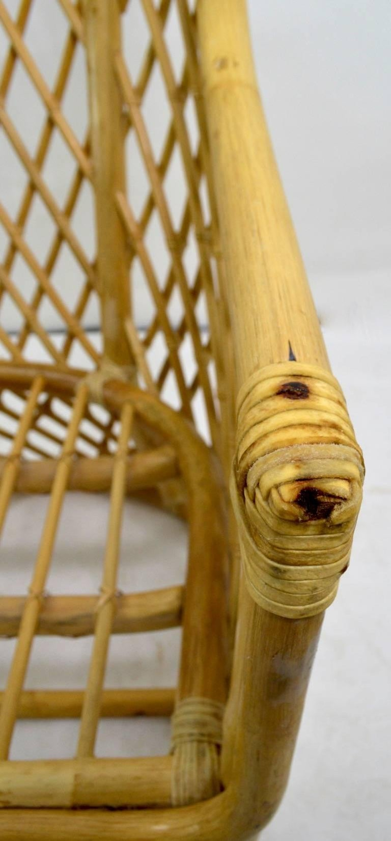 American Wicker Bamboo Weave Lounge Chair For Sale
