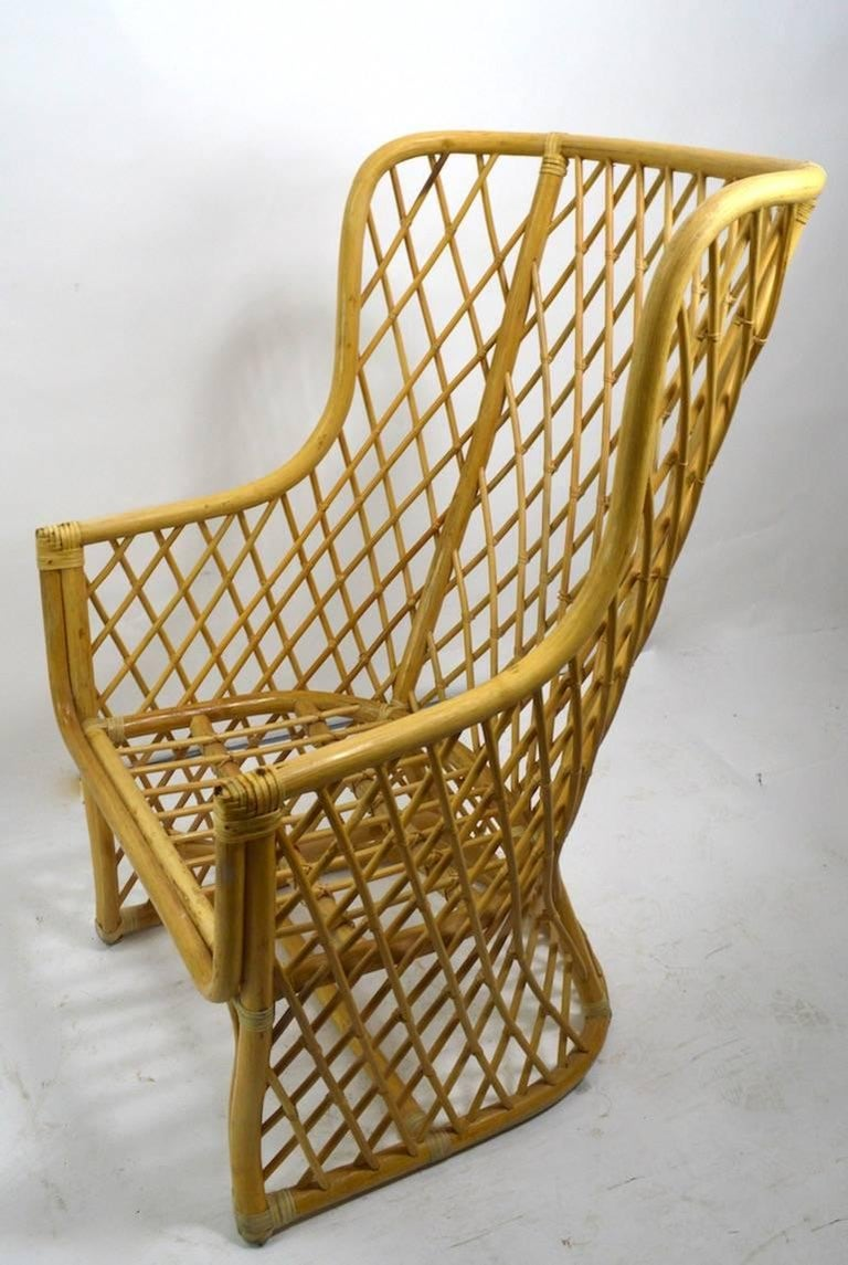 20th Century Wicker Bamboo Weave Lounge Chair For Sale