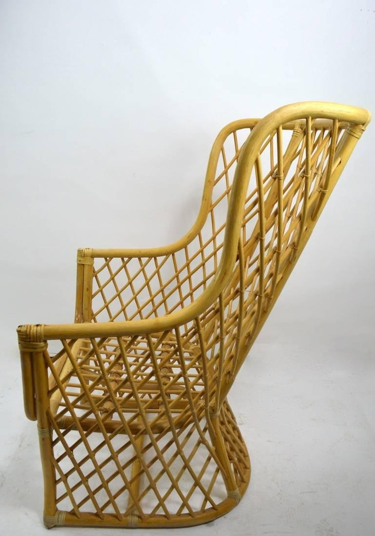 Wicker Bamboo Weave Lounge Chair For Sale 1