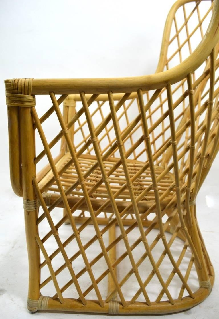 Wicker Bamboo Weave Lounge Chair For Sale 2
