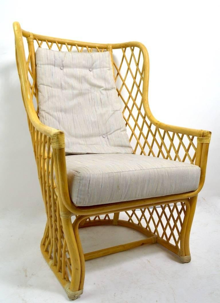 Wicker Bamboo Weave Lounge Chair For Sale 3