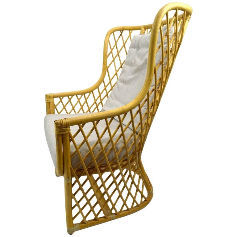 Wicker Bamboo Weave Lounge Chair For Sale