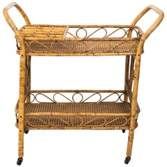 Wicker Bar Cart