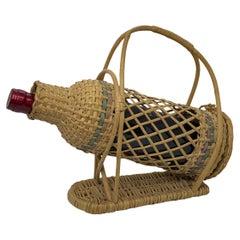 Wicker Basket Wine Bottle Holder Server, vintage Germany, 1960s