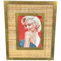 Wicker, Brass and Glass Rectangular Picture Frame, Italy, 1960s