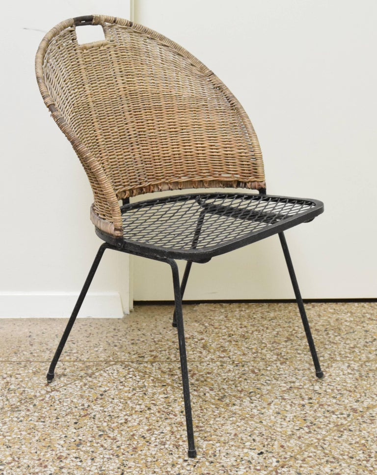 Mid-Century Modern Wicker Chair by Maurizio Tempestini for Salterini For Sale