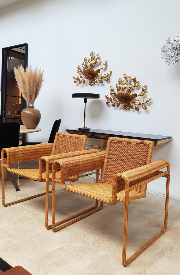 Wicker Chair, Inspired by Marcel Breuer's Wassily Chair, 1970s For Sale 6