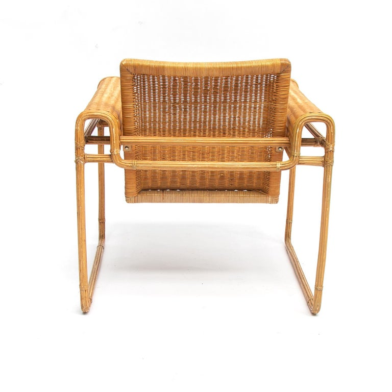 Bauhaus Wicker Chair, Inspired by Marcel Breuer's Wassily Chair, 1970s For Sale