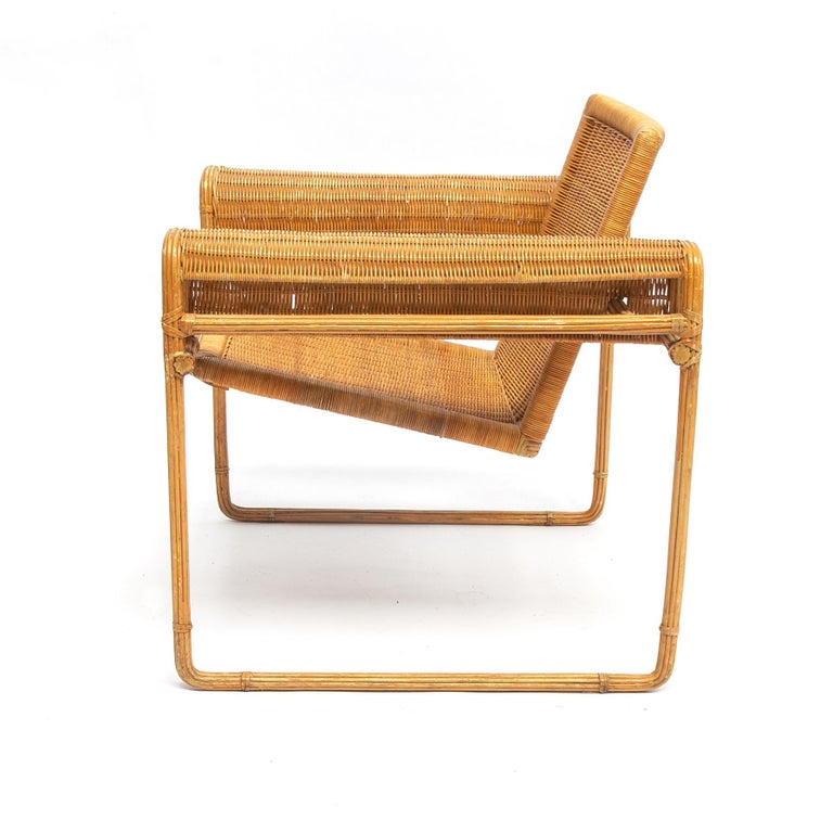 French Wicker Chair, Inspired by Marcel Breuer's Wassily Chair, 1970s For Sale