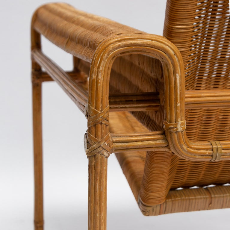 Wicker Chair, Inspired by Marcel Breuer's Wassily Chair, 1970s In Good Condition For Sale In AMSTERDAM, NL