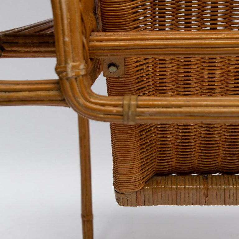 Late 20th Century Wicker Chair, Inspired by Marcel Breuer's Wassily Chair, 1970s For Sale