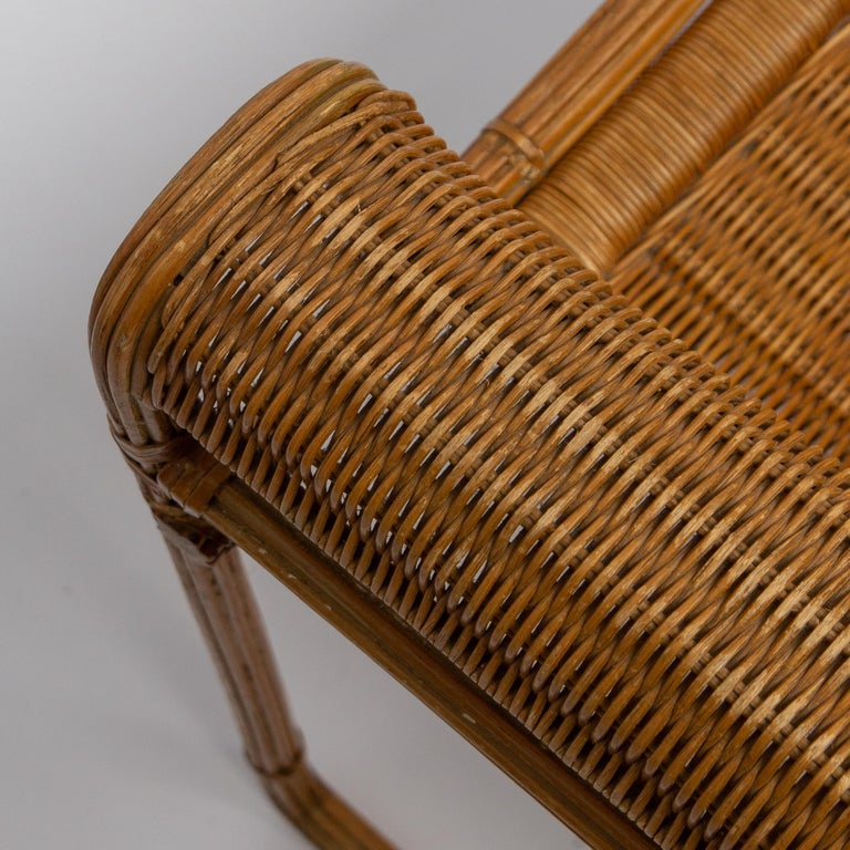 Metal Wicker Chair, Inspired by Marcel Breuer's Wassily Chair, 1970s For Sale