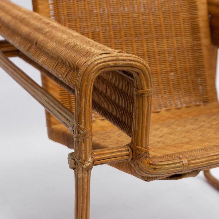 Wicker Chair, Inspired by Marcel Breuer's Wassily Chair, 1970s For Sale 1