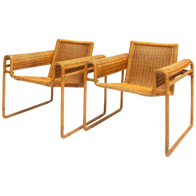 Wicker Chair, Inspired by Marcel Breuer's Wassily Chair, 1970s For Sale