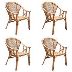 Wicker Chair Set of Four Patio Armchairs
