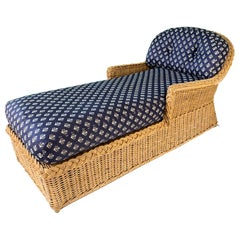 Wicker Chaise Lounge in the Manner of Michael Taylor