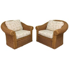 Wicker Club Chairs in the Style of Michael Taylor, a Pair