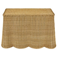 Wicker Console with Ruffled Bottom