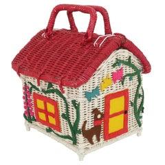 Wicker Cottage House Novelty Basket Handbag, 1950's
