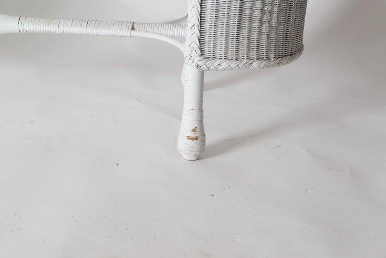 Woven Wicker Desk & Chair For Sale