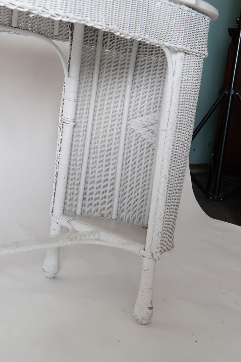 Mid-20th Century Wicker Desk & Chair For Sale