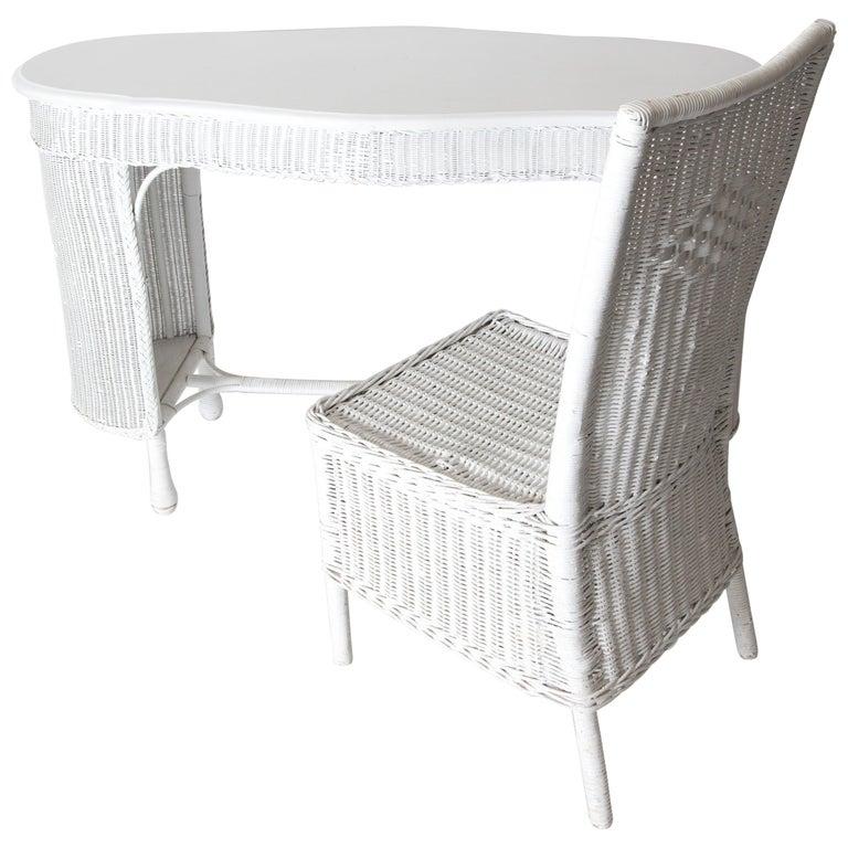 Wicker Desk & Chair For Sale