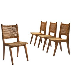 Dutch Wicker Dining Chairs, 1950s