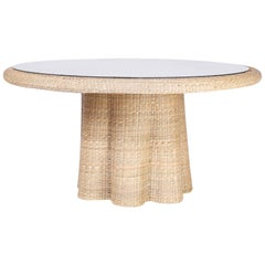 Wicker Dining Table with a Ghost Drapery Base