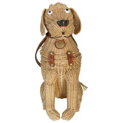 Wicker Dog Handbag by Marcus Brothers with Leather Harness and Studded Collar
