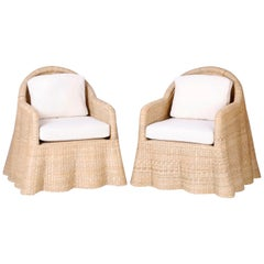 Wicker Drapery Ghost Armchairs, Priced Individually