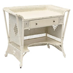 Wicker Early 20th Century Winged Top Desk with Drawer and Lower Shelf