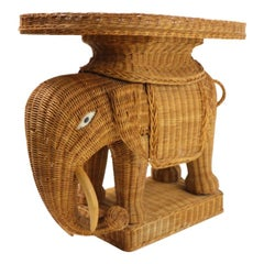 Wicker Elephant Table with Removable Tray