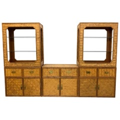 Wicker Faux Bamboo and Basketweave Cane 3-Piece Wall Unit