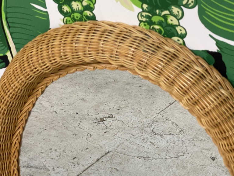 Organic Modern Wicker Framed Wall Mirror in the Manner of Bielecky Brothers For Sale