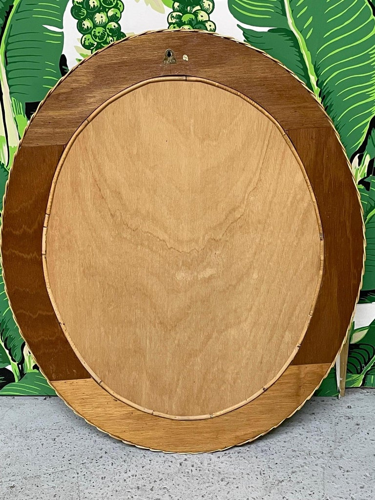Late 20th Century Wicker Framed Wall Mirror in the Manner of Bielecky Brothers For Sale