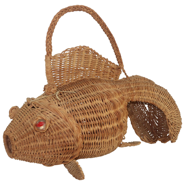 Wicker Goldfish Basket Novelty Handbag, 1950's