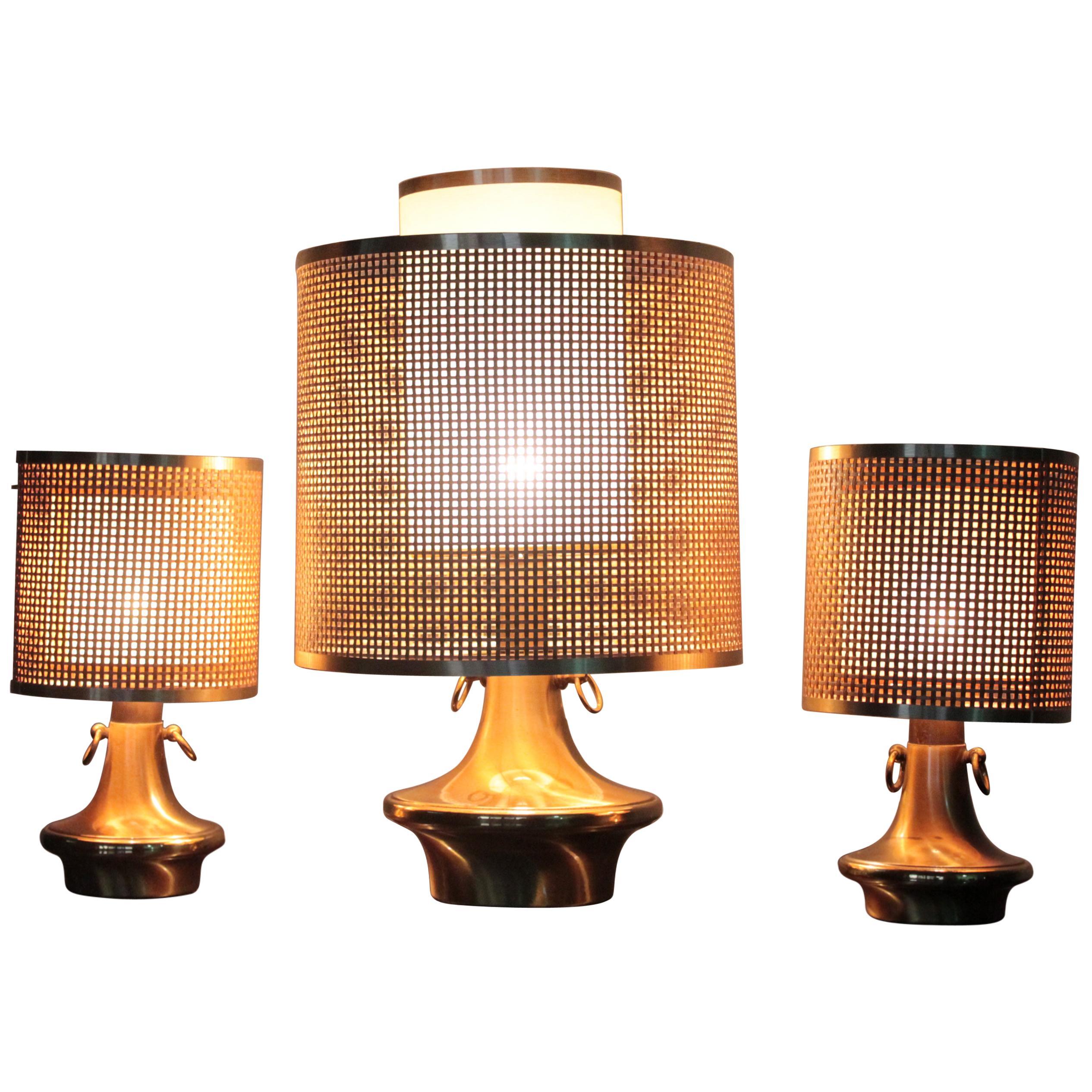 Wicker Lampshade Italian Brass Triptych Table Lamps, 1970s