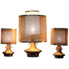 Wicker Lampshade Italian Brass Triptych Table Lamps, 1970s