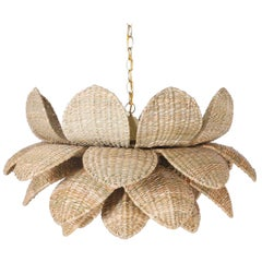 Wicker Lotus Form Light Fixture or Pendant