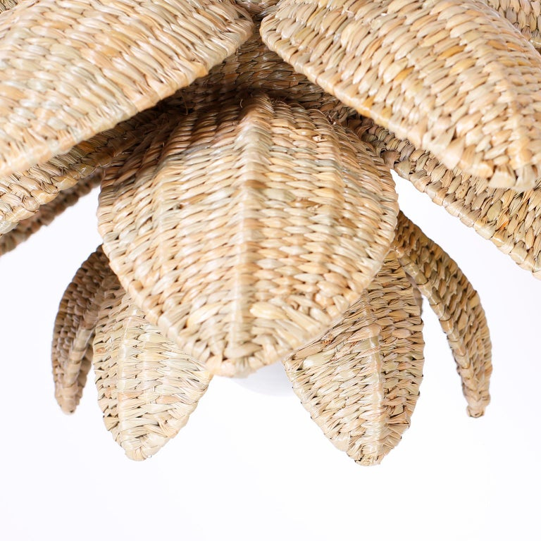 British Colonial Wicker Lotus Light Fixture or Pendant For Sale