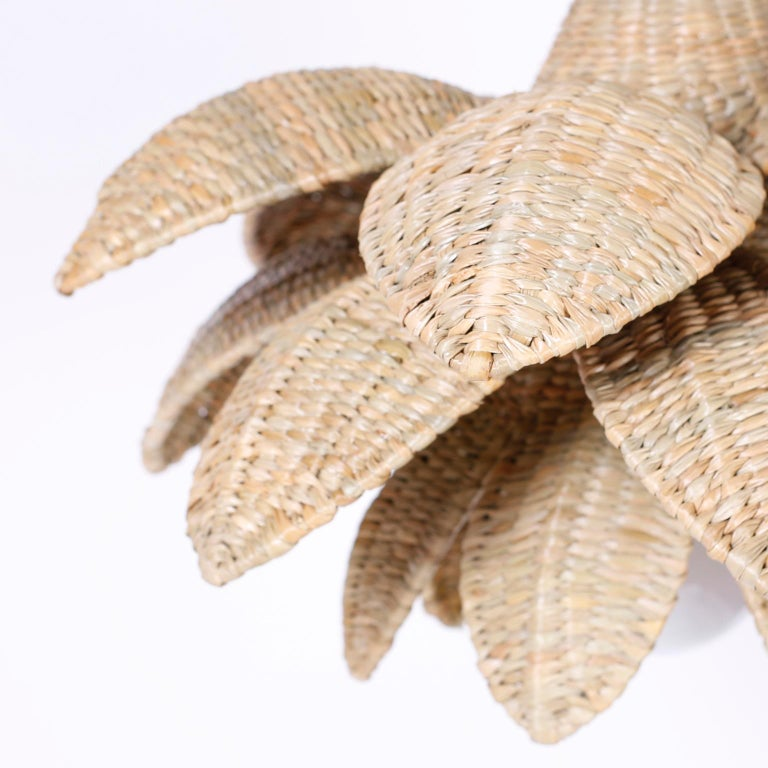 Hand-Crafted Wicker Lotus Light Fixture or Pendant For Sale