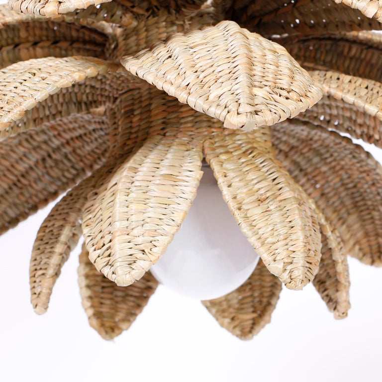Wicker Lotus Light Fixture or Pendant In Excellent Condition For Sale In Palm Beach, FL