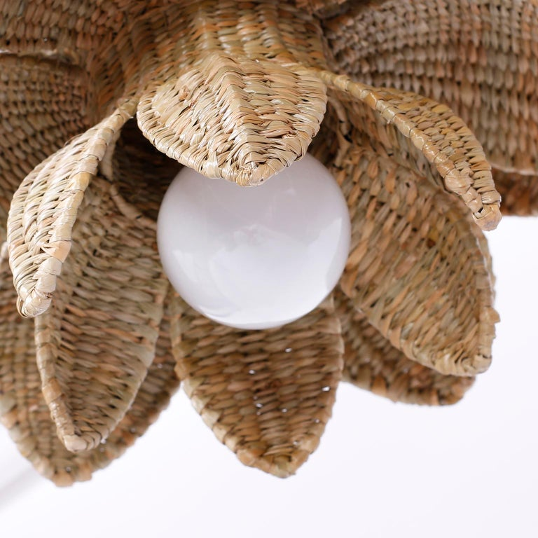 Contemporary Wicker Lotus Light Fixture or Pendant For Sale