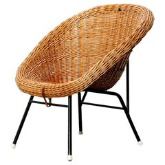 Wicker Lounge Chair Attributed to Dirk van Sliedregt