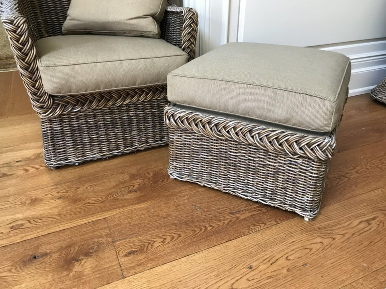 Mid-Century Modern Wicker Lounge Chair and Ottoman For Sale