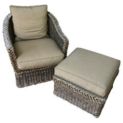 Wicker Lounge Chair and Ottoman