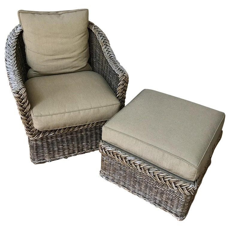 Wicker Lounge Chair and Ottoman For Sale